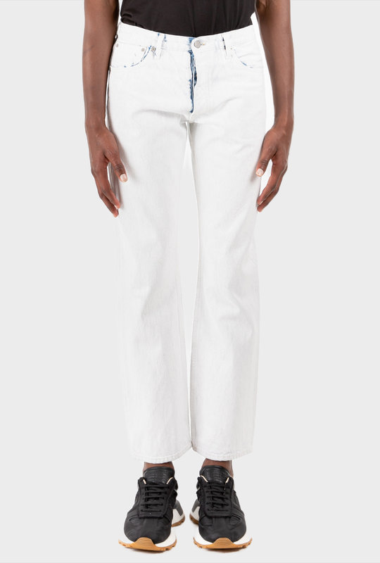 Mid Rise Straight Jeans White