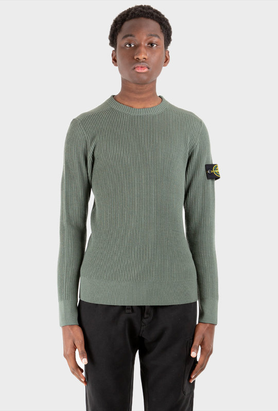 Crew Neck Ribbed Knit Jumper Green