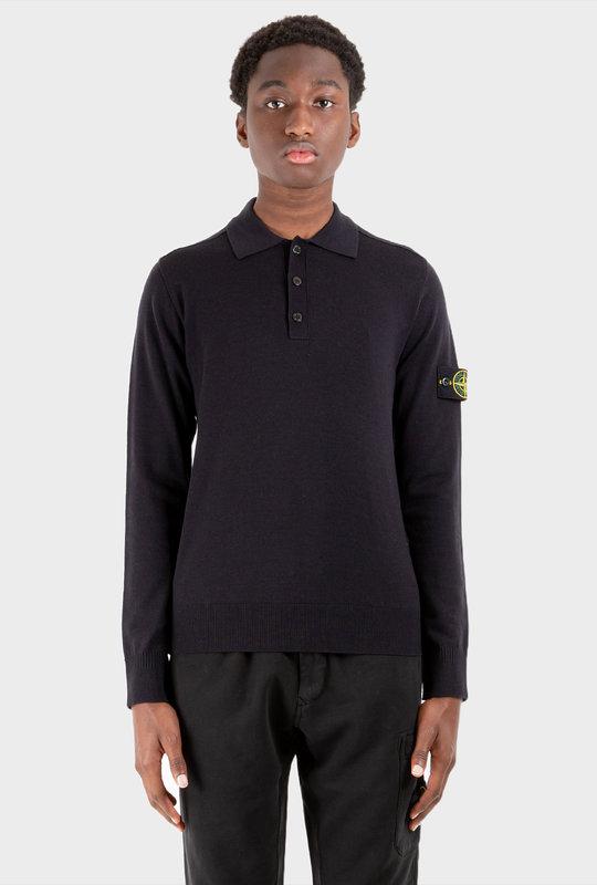 Compass Long-Sleeve Knit Polo Shirt Blue