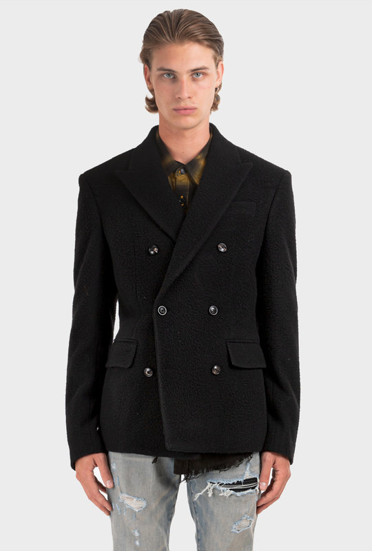 Boiled Wool Double Breasted Jacket Black