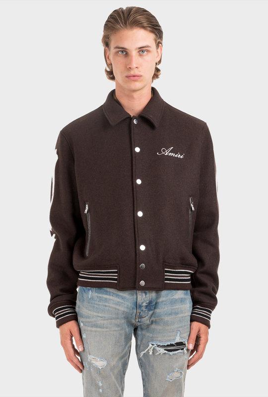Bones Varsity Jacket Brown
