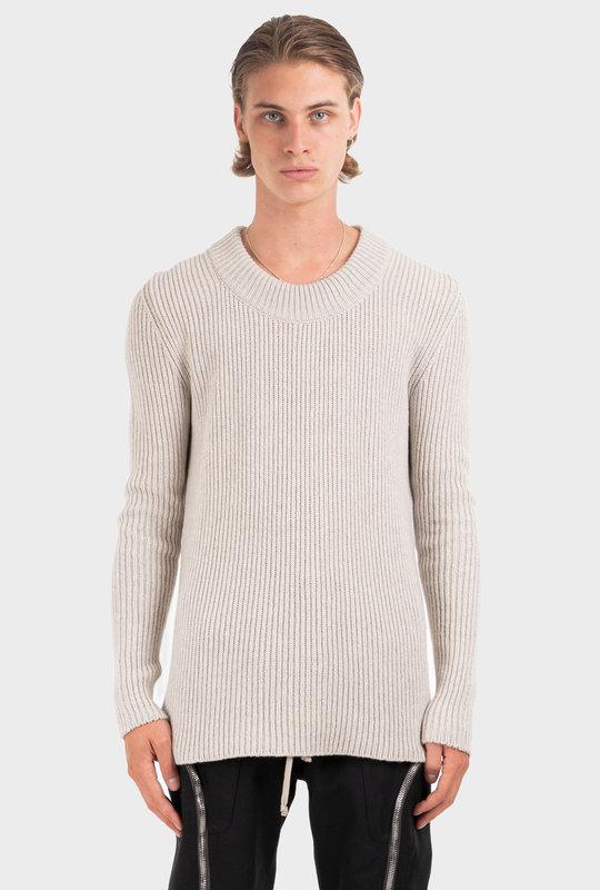 Cashmere-Blend Ribbed Knit Jumper Grey