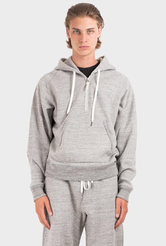 Zip Detailed Fleece Hoodie Grey
