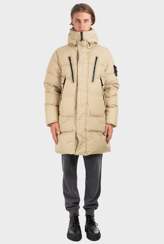 Padded Zip-Pp Down Coat Beige
