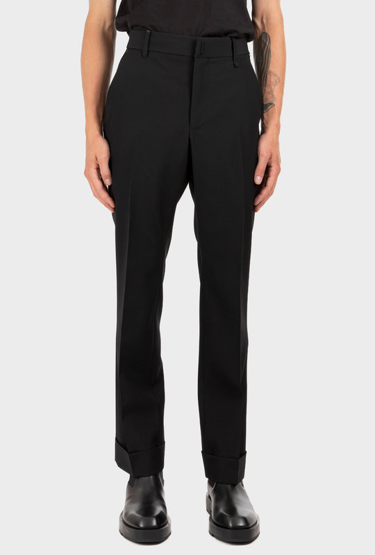 Slim Wool Metallic Detail Pants Black