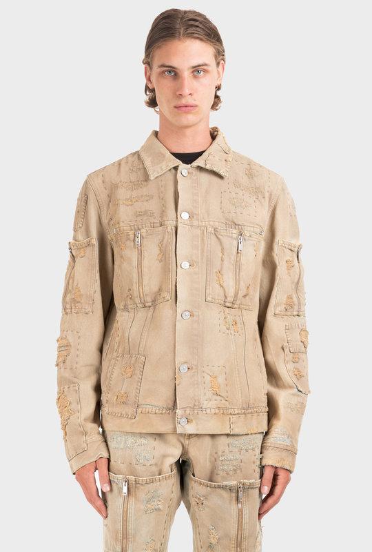Distressed Denim Jacket Beige