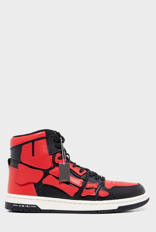 Skel Bones High Top  Sneakers Black Red