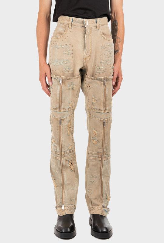 Distressed Denim Jeans Beige