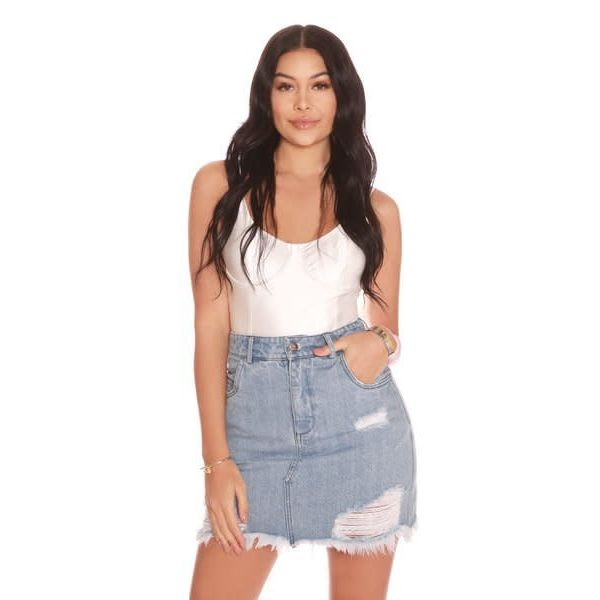 La Sisters Mini Denim Skirt Light