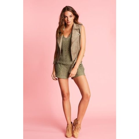 Gilet Faux Suede Light Army