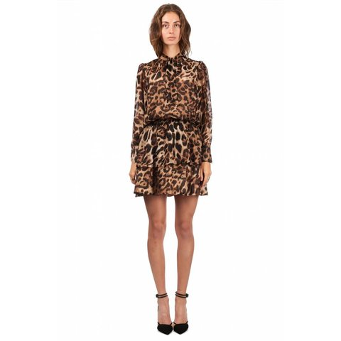 Dress Tie Detail Leopard