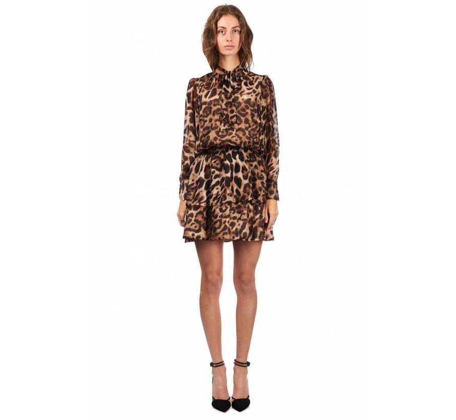 Dress Tie Detail Leopard