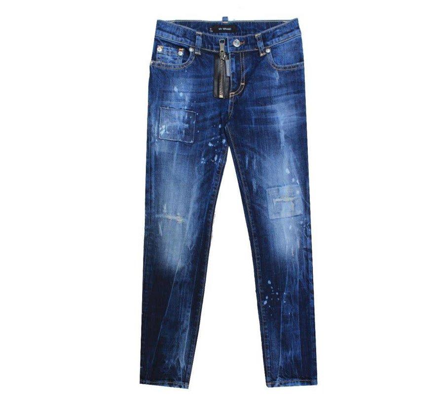 My Brand Pietro 030 Zipper Destryed Jeans Blue