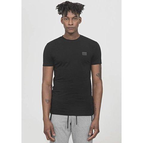 Sporty T-Shirt Plaque Detail Black