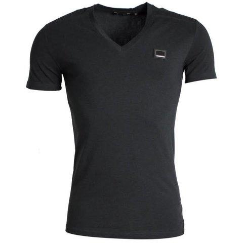 Shirt Basic Metal Logo Black (V Neck)