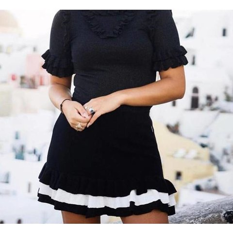 Valerie Ruffle Skirt True Black