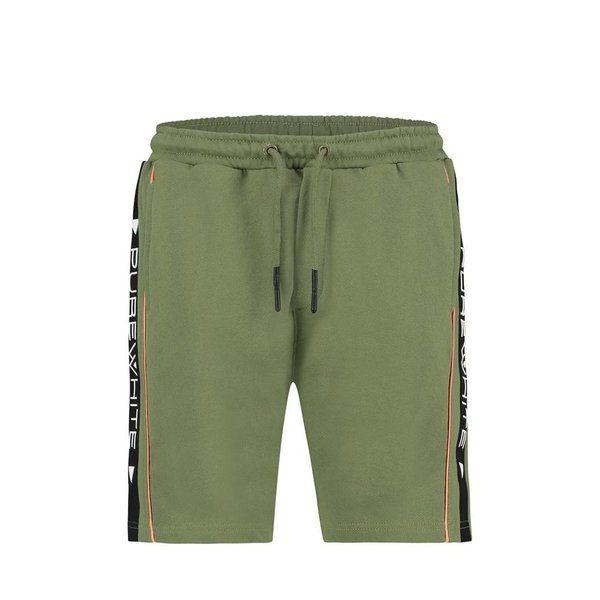 Pure White Short Army Green Side Logo