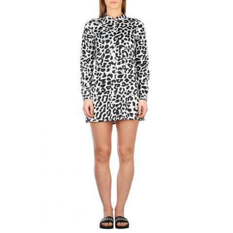 Blouse Dress Short Black Leopard