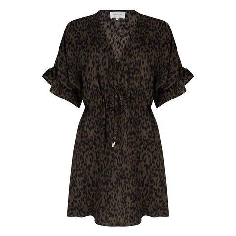 Dress Flared Sleeves Leopard