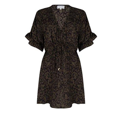 Jacky Luxury Dress Flared Sleeves Leopard