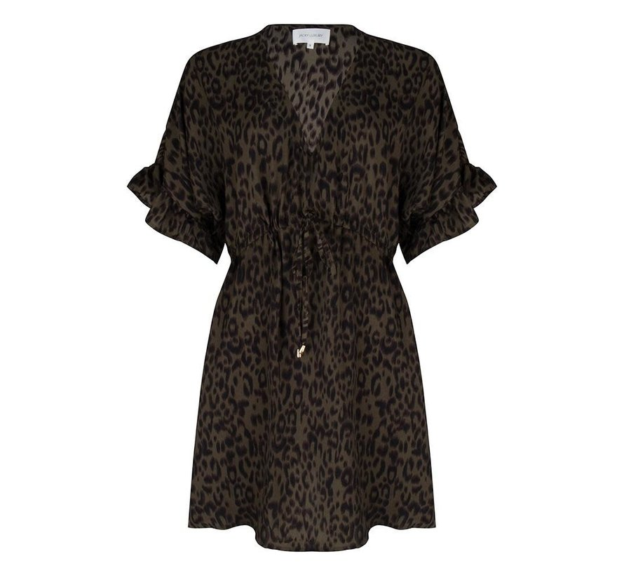 Dress Flared Sleeves Leopard