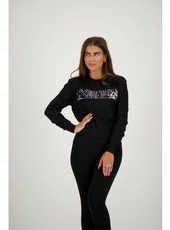 Reinders Sweater Wording Sequins Black