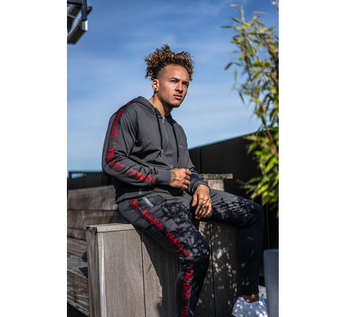 Quotrell Admiral Trackpants Dark Grey / Red