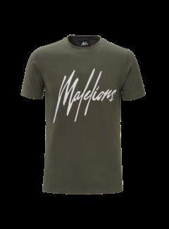 Malelions T-Shirt Army/White