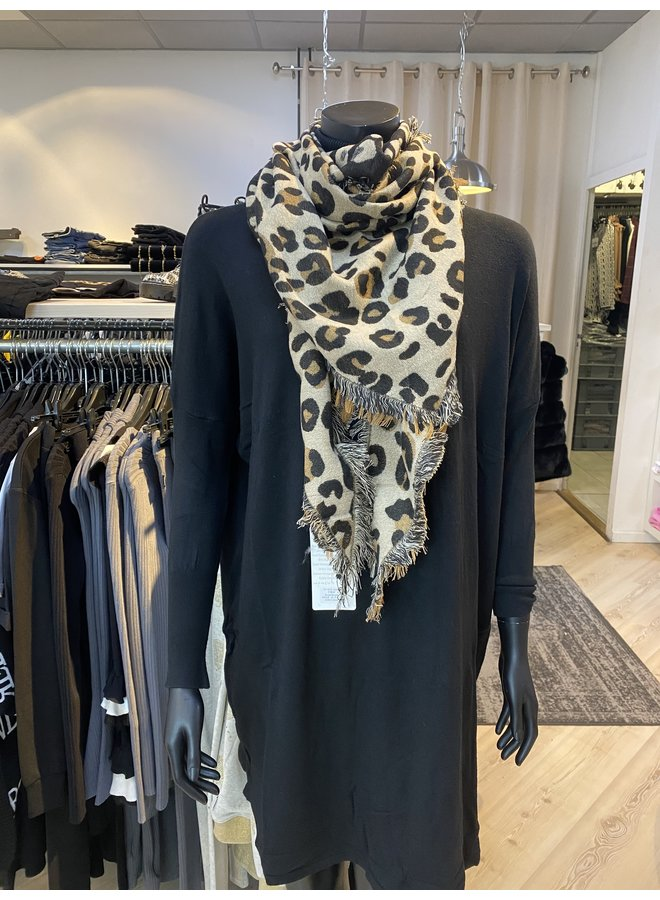 Shawl Leopard Bruin/Zwart