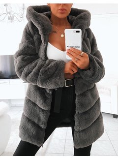 Label Noir Fur Coat Grey