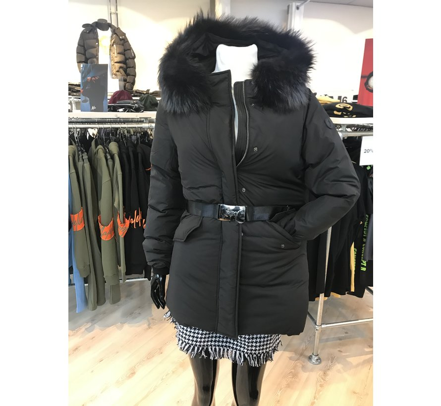 Parka fur with belt