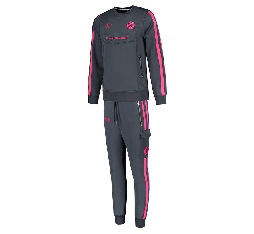 Anorak Double Stripe Tracksuit Neon Pink