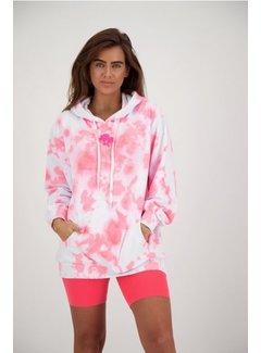 Reinders Hoodie Tie Dye White/Pink
