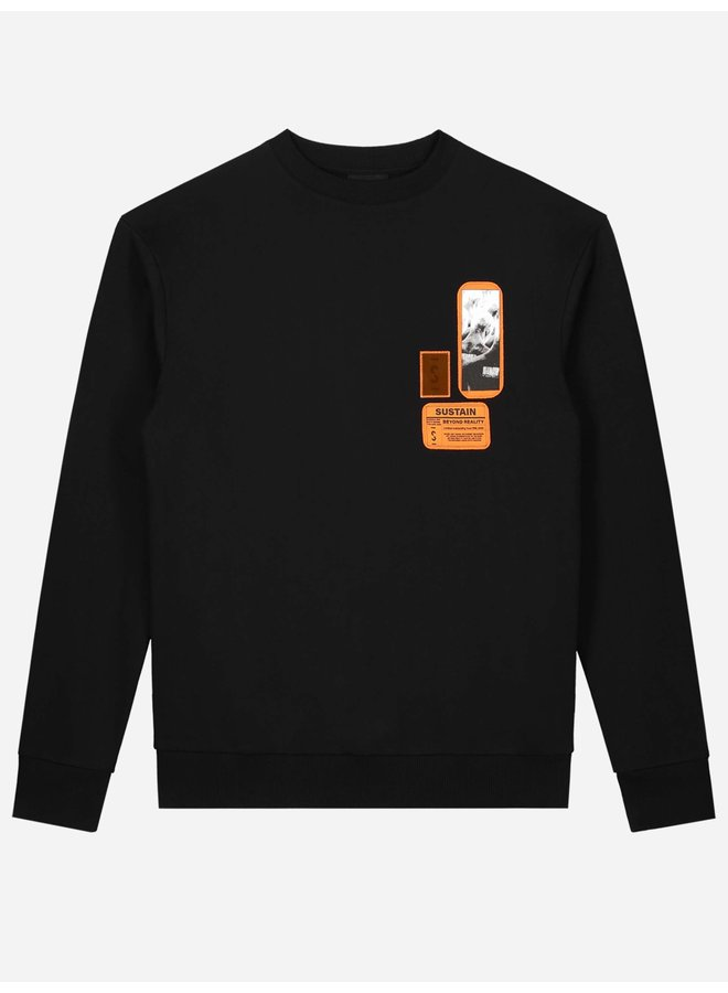 Patches Oversized Sweater Black