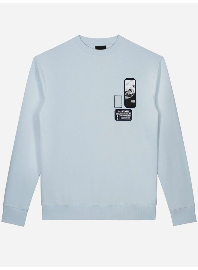 Patches Oversized Sweater Ice Blue
