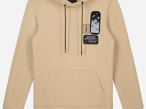 Sustain Patches Regular Hoodie Camel
