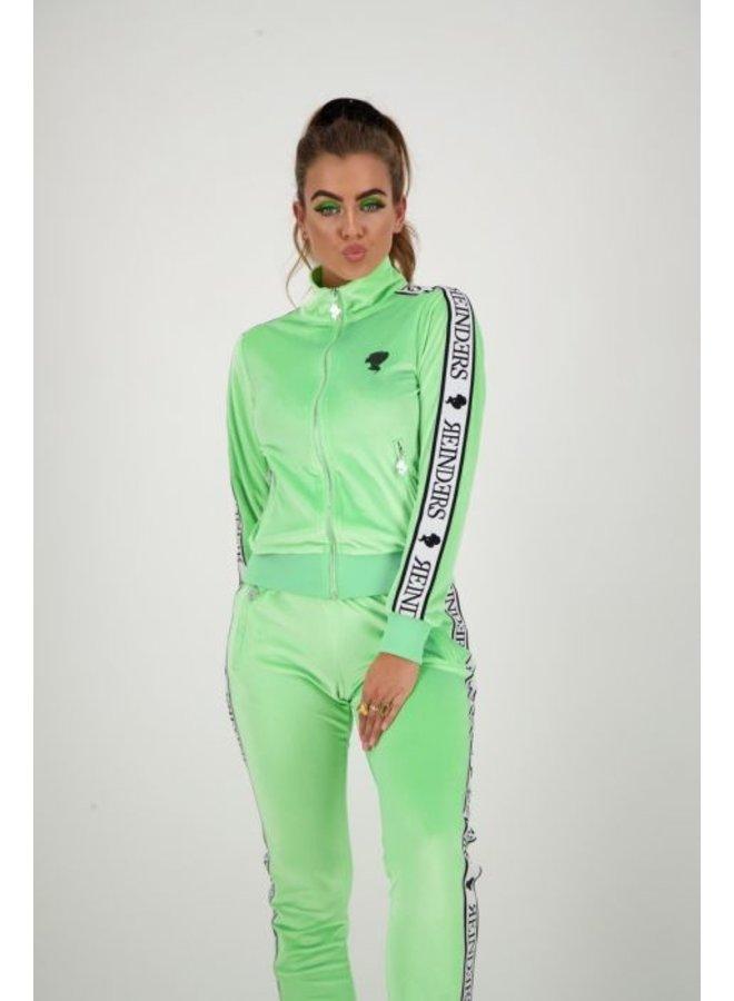 tracking vest velvet neon green