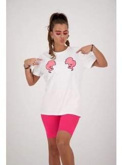 Reinders Headlogo Diamonds Shirt White / Pink