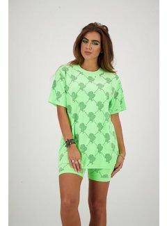 Reinders T-Shirt Velvet logo Neon Green