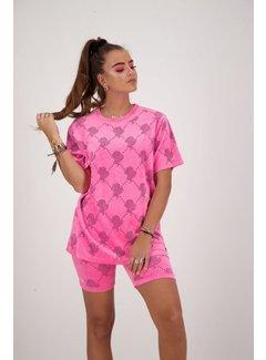 Reinders T-Shirt Velvet Logo Neon Pink