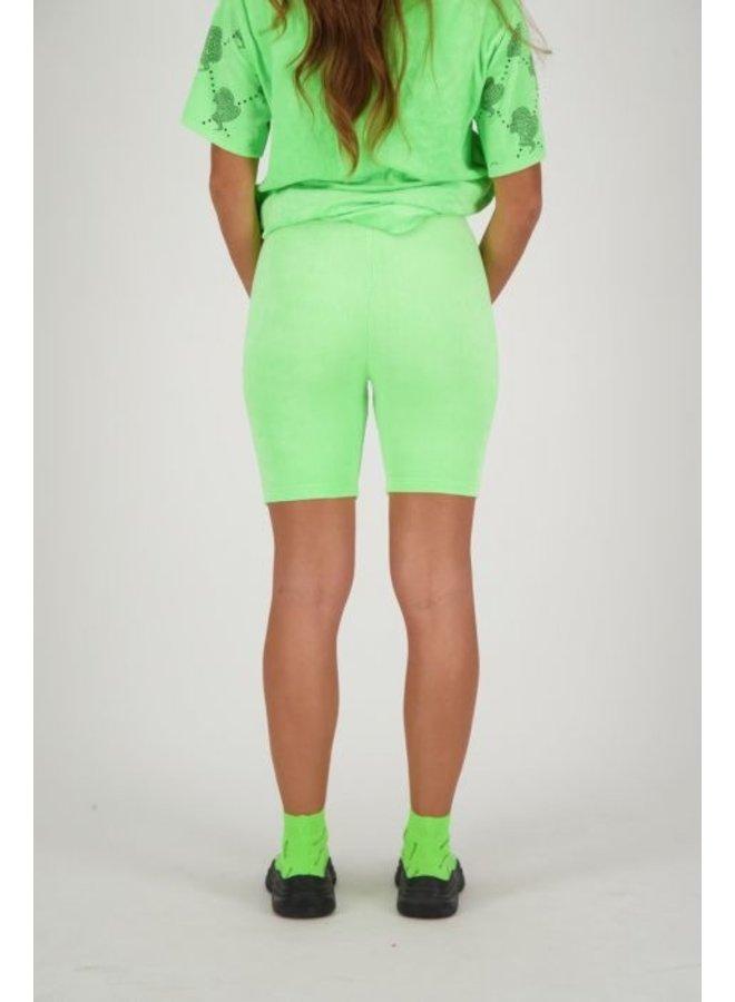 Biker Short Velvet Neon Green