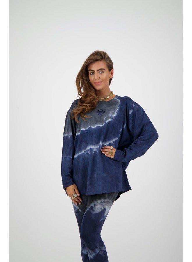T-Shirt Tie Dye Longsleeve Blue/Black