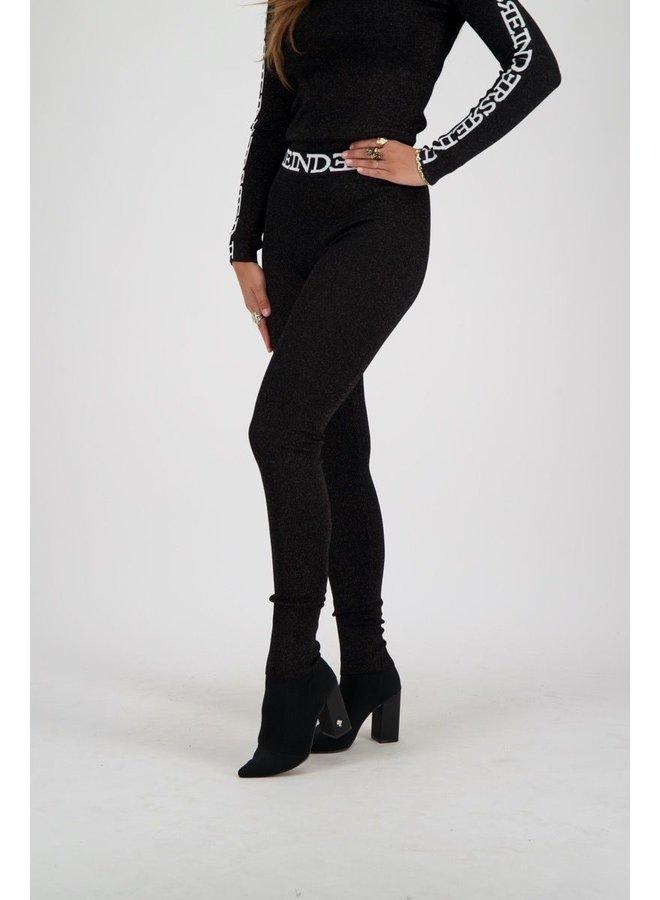 Pants Lurex Tight Fit True Black Entarsia
