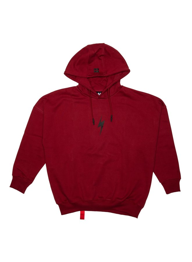 Lightning Bolt Rockstar Hood Dark Red