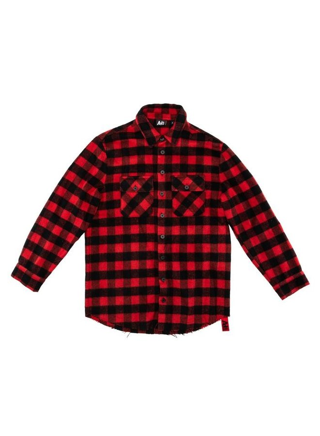 Red / Black Tie Check Blouse Flannel