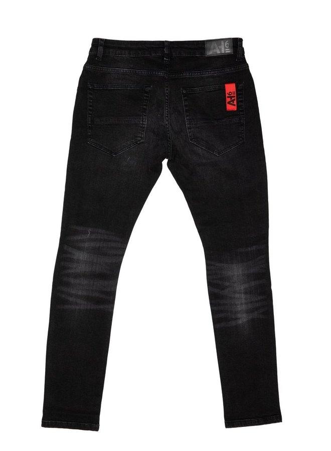 Leather Patch Pants Black