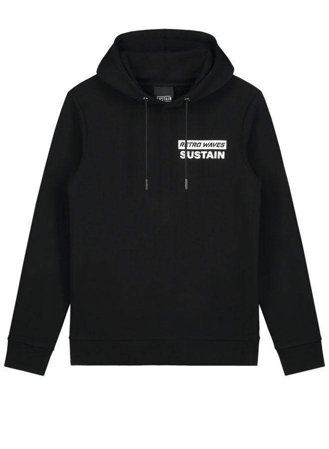 Retro Waves Regular Hoodie Black