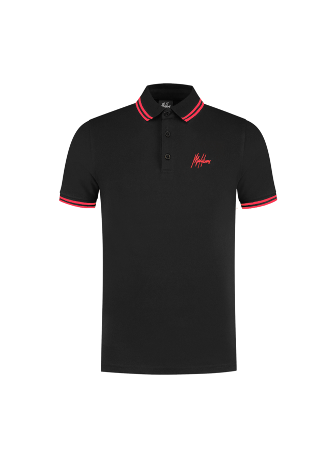 Din Polo black/Neon Red