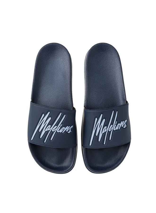 Malelions Slides - Navy/Light Blue