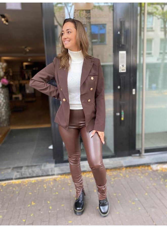 Lesly Pants Brown Leather Look